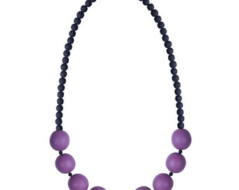 Grape and black necklace in a modern chunky style by Frank Ideas
