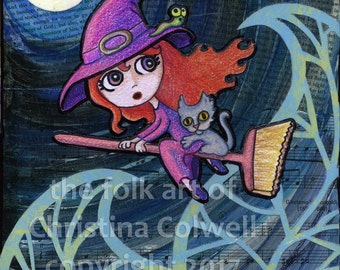 "Spooky  Instant Download 8"" X 10"" printable art from original mixed media contemporary folk art Witch on Broom with cat"