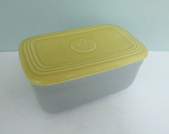Hall Ovenware China Refrigerator Dish Mid-Century Gray & Yellow with Lid, Made for General Electric GE Fridges