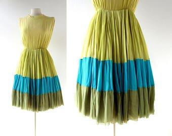60s Chiffon Dress | Seaspray | Color Block Dress | 1960s Dress | XS