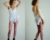 Lace Playsuit Teddy Vintage White and Pale Pink Lace Plunging One Piece Playsuit Teddy Lingerie (s m)