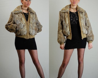 Rabbit Fur Bomber Jacket Vintage 70s Shades of Brown Urban Glam Draped Zip Up Genuine Rabbit Fur Jacket (m l)