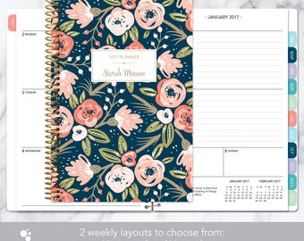 2017 planner calendar choose start month | add monthly tabs weekly student planner personalized agenda daytimer | navy pink gold floral