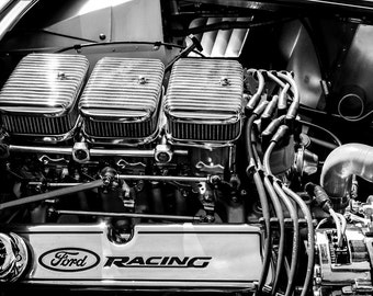 Ford Shelby AC Cobra Engine Logo Car Photography, Automotive, Auto Dealer, Muscle, Sports Car, Mechanic, Boys Room, Garage, Dealership Art
