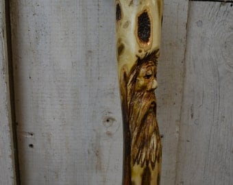 Carved Wood Spirit Face Cane - Wood Hand Carved walking cane - mountain man - functional art - ren faire - 1539