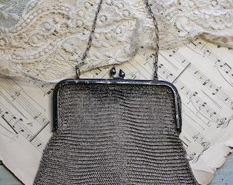 Vintage Mesh Purse- Metal- Antique Silver Purse- Evening Formal Bag- Antique Woven Metal Purse