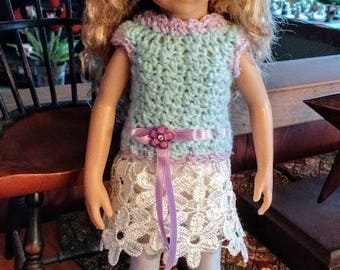 OOAK Crocheted Dress and Hat for Little Darlings and Maru Mini Pals Dolls