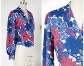 Vintage 1940s Blouse - Summer Lookbook 2017 - The St. Regis Blouse - Rare 40s Cold Rayon Blouse in Blue, Red and White with Long Sleeves