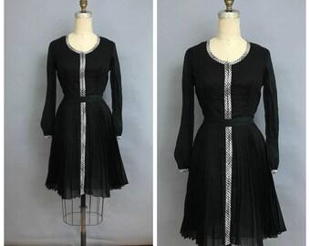 50s black pleated dress