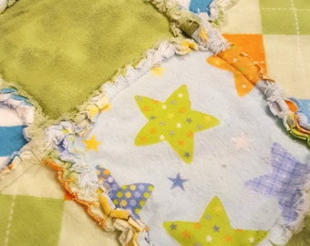 Stars in Yellow, Green and Orange Flannel Rag Edge Quilt 30in by 40in Handmade for Babies, Toddlers and Kids