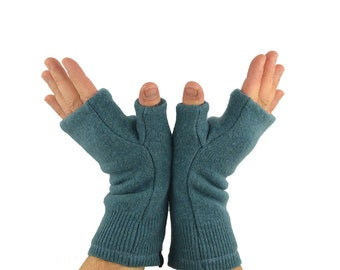 Men's Fingerless Mitts in Ocean Blue - Recycled Wool - Fleece Lined