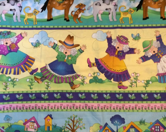 Out Of Print Children's Fabric, The Lady and The Fly Cotton Fabric by Possibilities for Avyln