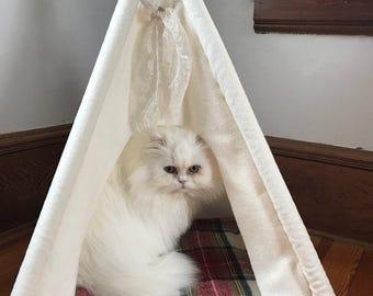 teepee, dog teepee, pet teepee, cat teepee, pet tent, pet bed, dog house, cat house - SAGE PET TEEPEE