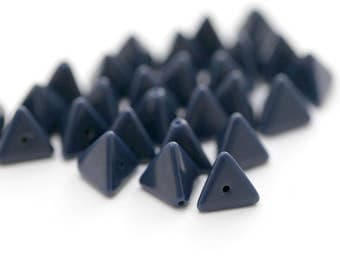 Vintage Opaque Navy Blue Lucite Triangle Beads 11mm (20)