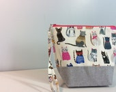 Small Project Bag - in a Fun Cat print fabric