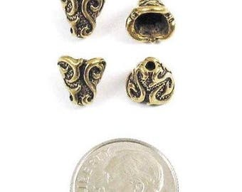 TierraCast Pewter Bead Bell Caps-Antique Gold Lily Cone (4)