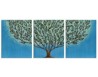 Tree Wall Art Triptych Canvas Blue Original Painting in Acrylic - Large 50X20