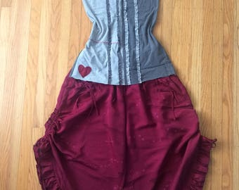 Cotton Tunic in Gray Red Jersey with Ruffles and Hearts