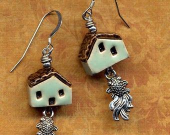 Fish Earrings, Blue Tiny Clay House Earrings, Sterling Silver Earrings Turquoise Earrings Miniature Porcelain House Home Sweet Home Earrings