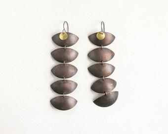 Copper boho earrings, reptile drop earrings