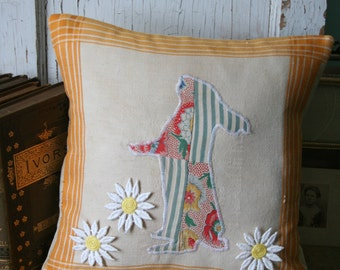 Easter BUNNY Pillow COVER - Rabbit, Primitive Style, Vintage Materials, 12 Inch