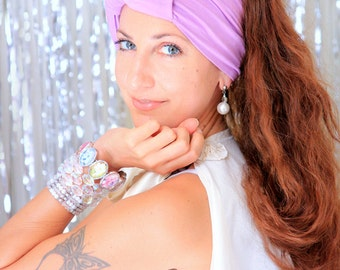 Turban Headwrap with Bow - Wide Headband in Lilac Jersey Knit - Available in 24 Colors