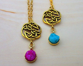 Gold Celtic Knot Druzy Necklace. Irish Jewelry. Dreamy Druzy. Celtic Jewelry.