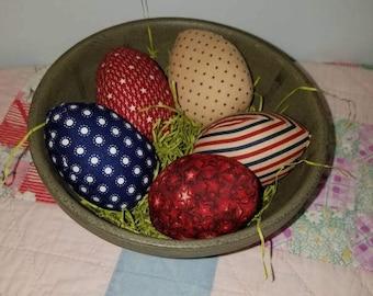 Set of round Fabric Easter Eggs, handmade Easter Decor, Homespun from the Heart