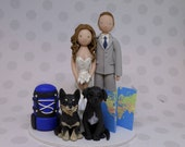 Bride & Groom with Dogs Personalized Travel/Hiking Theme Wedding Cake Topper - reserved for shilahduncan
