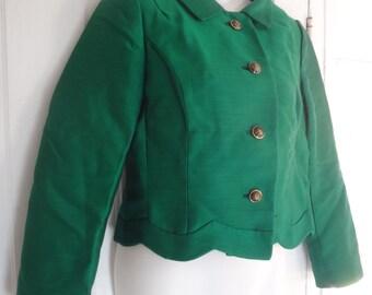 Vintage 1960s Emerald Green Silk Gazar Jacket, small Selma Fashions