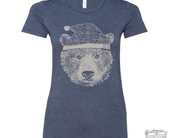 Women Beanie BEAR  t-shirt -hand screen printed s m l xl xxl (Color Options)