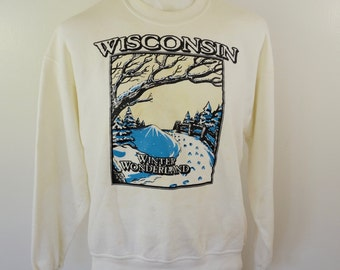 Vintage WISCONSIN WINTER WONDERLAND sweatshirt made in usa xl