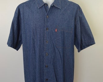 sale Vintage LEVI'S TWO Horse Brand denim Short Sleeve Shirt made in USA size Large red tab 1980's