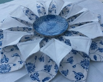 Blue & White Shabby Chic / Country Cottage Fabric Wreath - Candle Holder / Table Topper / Centrepiece