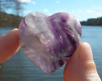 Fluorite Heart #2 ~ Polished Genuine Fluorite, Chakra, Crystal Healing, Reiki, Metaphysical, Meditation, Love, Crystal Heart, Gypsy, Faerie