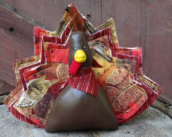 Thanksgiving turkey stuffed doll ornie soft scuplture decoration