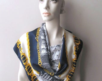 rome italy souvenir scarf raffaello roma navy cream and gold chain architectural landmarks vatican