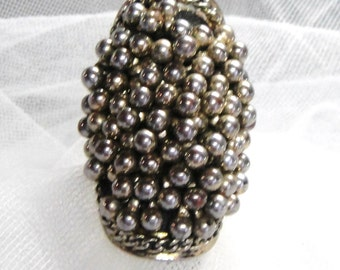 Silver Tone Silver Ball Beads Ring Sz 6.5