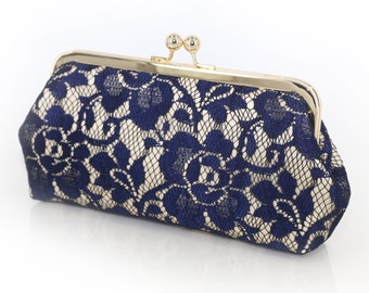 Champagne and Navy Peony Lace Bridal Clutch 8-inches | Bridesmaid Clutch