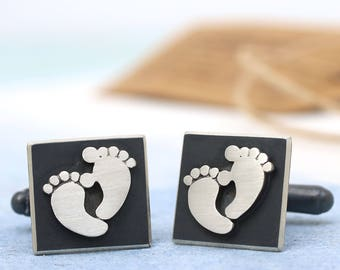 Father day cufflinks | New Dad cufflinks | First fathers day gift | Foot print cufflinks | Daddy cufflinks | Gift for Dad | New Father gift