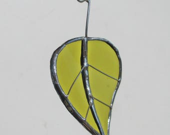 Green Birch Leaf - Upcycled Stained Glass Suncatcher