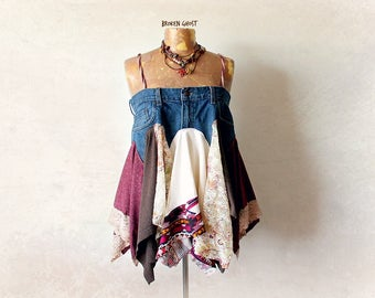 Earthy Hippie Shirt Upcycled Jeans Boho Chic Clothing Women's Flowing Top Festival Clothes Stevie Nicks Tank Gypsy Eco Skirt L 'ADRIANA'