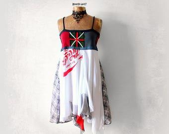 Artsy Hippie Dress Stevie Nicks Clothing Tattered Layers White Boho Sundress Women Festival Dress Fit Flare Gypsy Bohemian Eco Wear M 'ARIEL