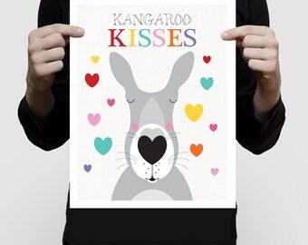 kangaroo kisses nursery art print poster australian animals colourful children kids baby girl or boy hearts love australia - rainbow bright