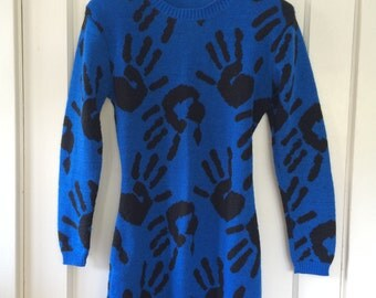 Rare Iconic Betsey Johnson Punk Label Cobalt Blue Hand Print Sweater Dress with Open Back Collector's Item - One Size