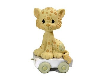 1987 Vintage Precious Moments Birthday Train Car / Bisque CHEETA  Figurine / Lavender Purple Pastel Colors / 7th Birthday
