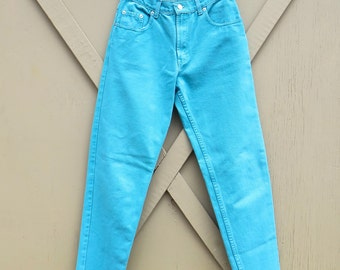 80s/90s vintage Jeanjer Turquoise Colored Jeans / High Waist Turquoise Tapered Leg Jeans