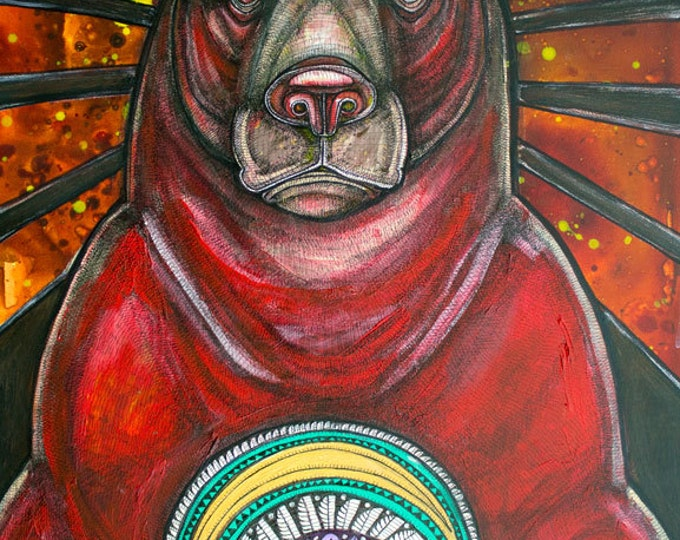 "Original ""Ursa Major"" Grizzly Bear totem painting by Lynnette Shelley"