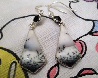 EARRINGS  - MERLINITE DENDRITE   - Black Onyx -  french hook - dangle - Sterling Silver - earrings437
