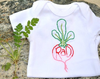 Rad Radish and Embroidered Baby Bodysuit. Modern Baby Gift